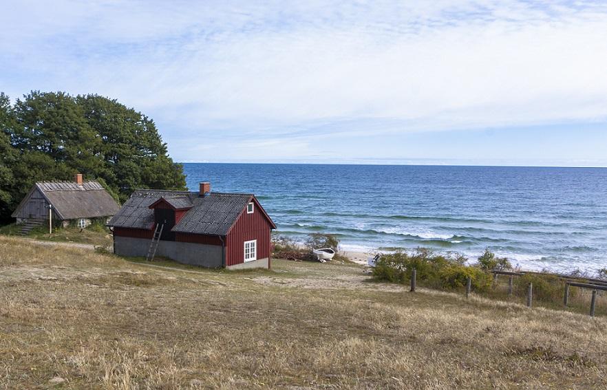 strand på østsiden af stenshuvud nationalpark